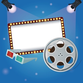 Color background billboard banner with film reel movie and glasses 3d