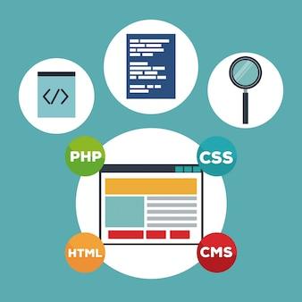 Color background elements programming codes language vector illustration