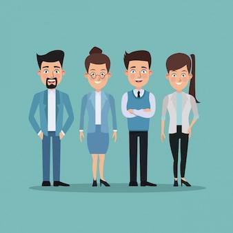 ビジネスのための女性と男性のキャラクターの色の背景フルボディのペア