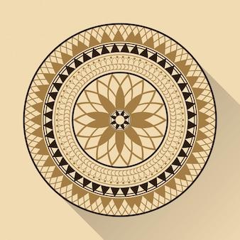 色の背景幾何学的な円形のアラビアの装飾影