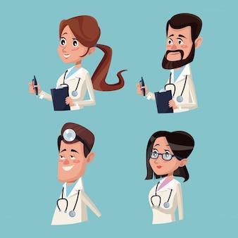 カラー背景の病院の医療半分のスタッフのチームの医師