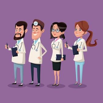 カラー背景病院の医療スタッフチームの医師