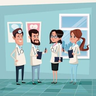 病院の医療スタッフのチーム医師とカラー背景の病院の部屋