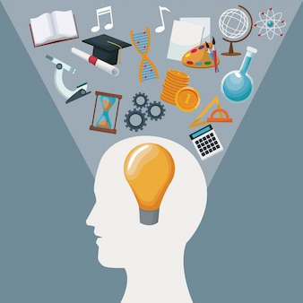Color background human head with solution idea inside and light halo icons knowledge