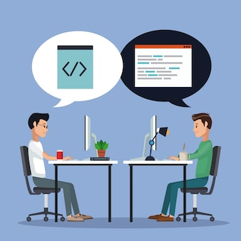 Color background men worker in desk with computer and icons programming codes in dialog box vector illustration