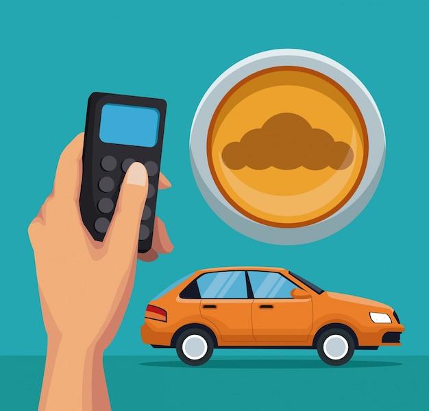 클래식 자동차의 색상 배경과 버튼 클라우드 스토리지가있는 리모콘