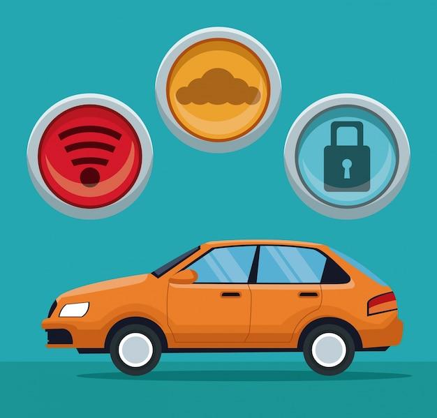 버튼 아이콘으로 클래식 자동차 차량의 색 배경