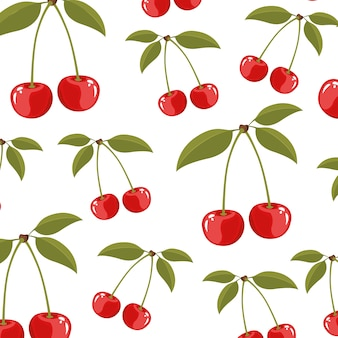 Color background of pattern set cherry delicious fruits