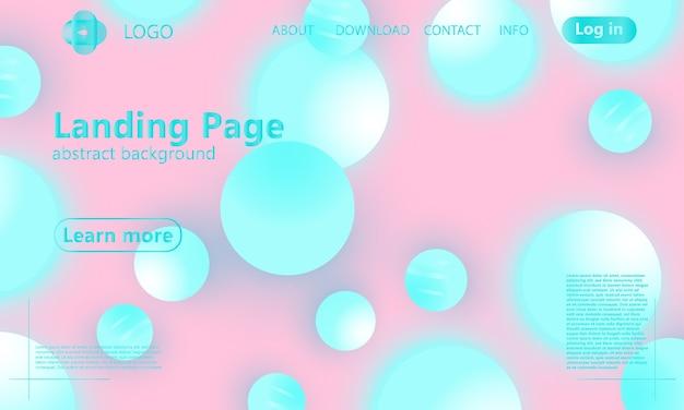 Цвет фона. розовые и голубые мягкие сферы. жидкий узор. 3d геометрические фигуры.