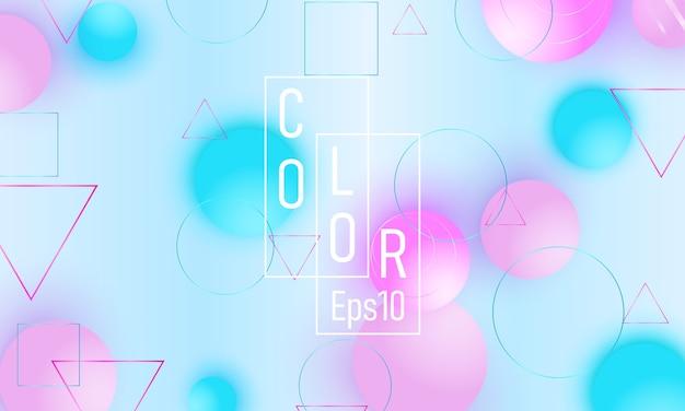 色の背景。ピンクとブルーの柔らかい球。流体パターン。 3dの幾何学的形状。