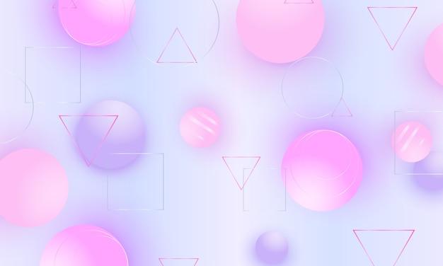 Цвет фона розовые мягкие сферы. жидкость 3d геометрические фигуры. ,