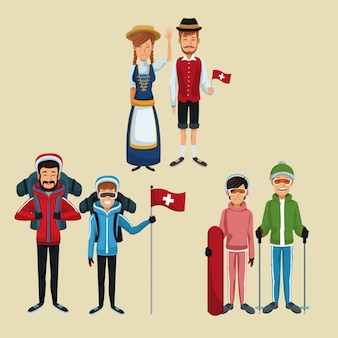 Color background of set tourist and traditional people switzerland