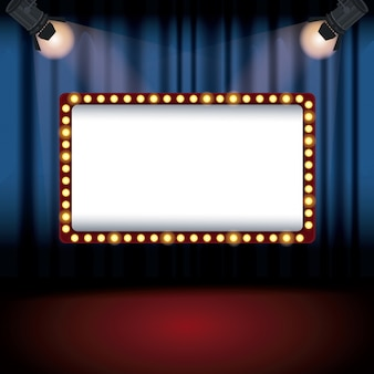 Color background stage cinema curtain with spotlights and billboard banner