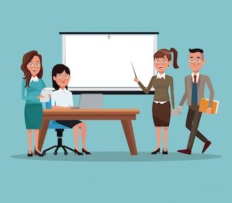 Color background teamwork business people in presentation vector illustration