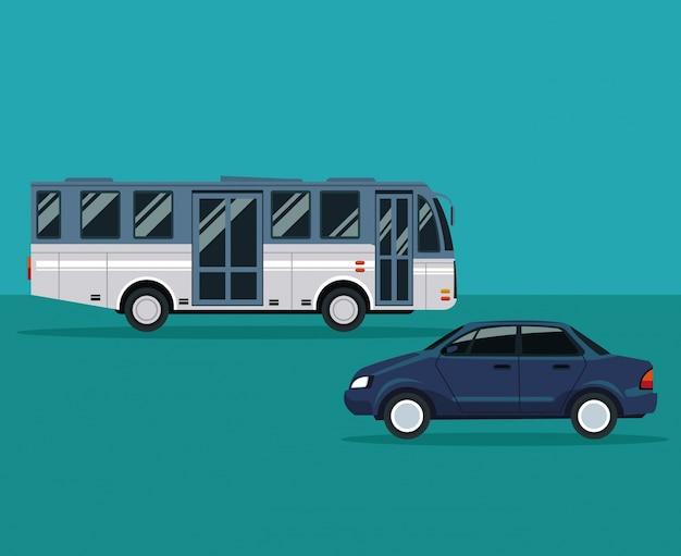 버스 및 자동차 차량 운송 색 배경