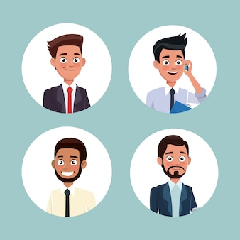 Color background with circular frame icons set half body men characters for business