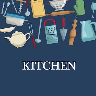 Цветной фон с другой посудой кухни Premium векторы