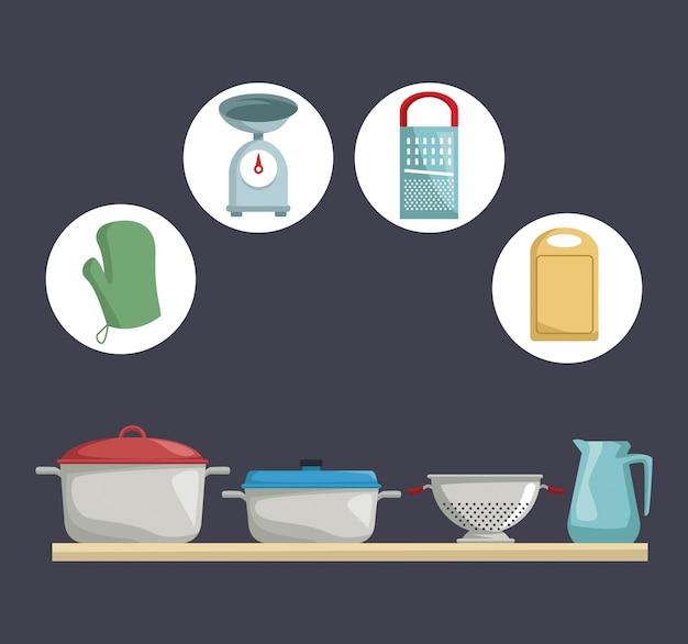 Цвет фона с иконками элементов кухни и деревянной полки с установленными горшками