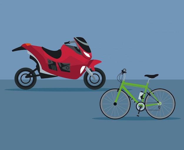 Color background with modern motorcycle and bicycle vehicle transport