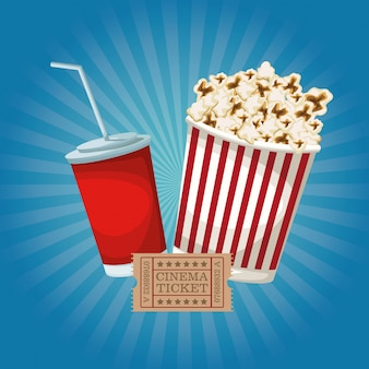 Color background with popcorn pack and soda ticket movie