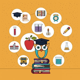 Color background with sparkles of owl on stack of books with education element icons