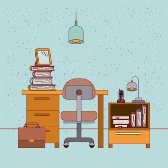 Color background with sparkles work place office interior with nightstand with phone lamp and books