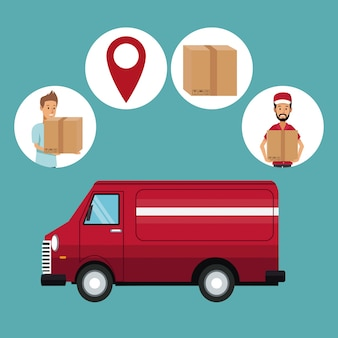 Color background with truck and icons fast delivery