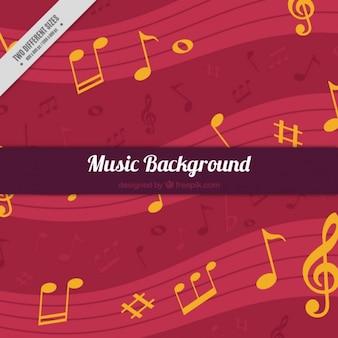 Цвет фона с волнистыми клепок и музыкальные ноты