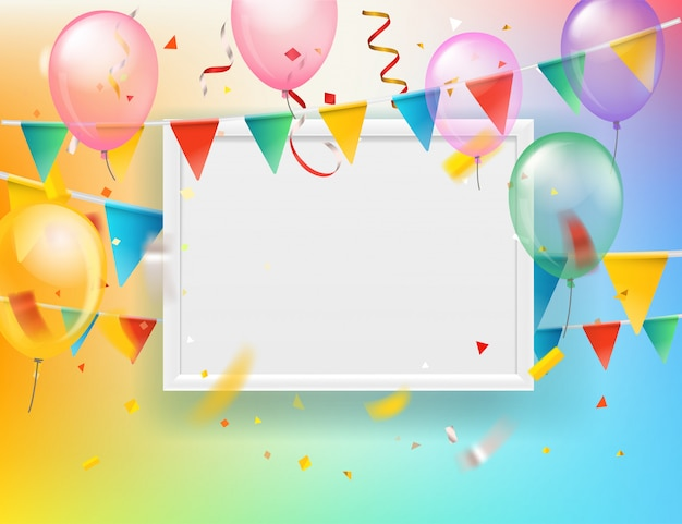 Color ballons and flags and confetti with blank white frame  greeting card