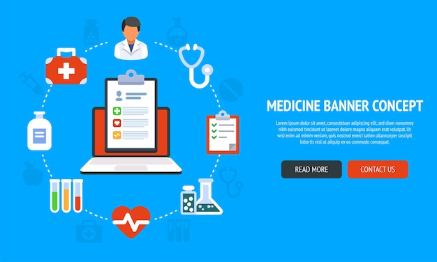 Color banner  concept for medicine and healthcare and online treatment. illustration