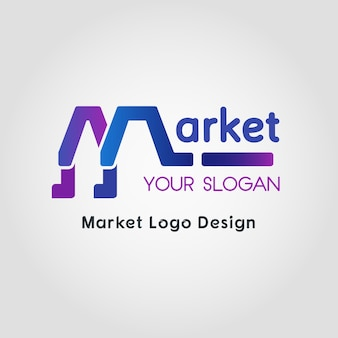Color blend market business logo template