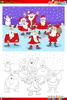 Color book illustration of santa characters