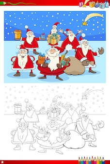 Color book illustration of santa claus group
