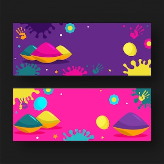 Color bowls with balloons, hand prints, flower and color splash effect on purple and pink banner set