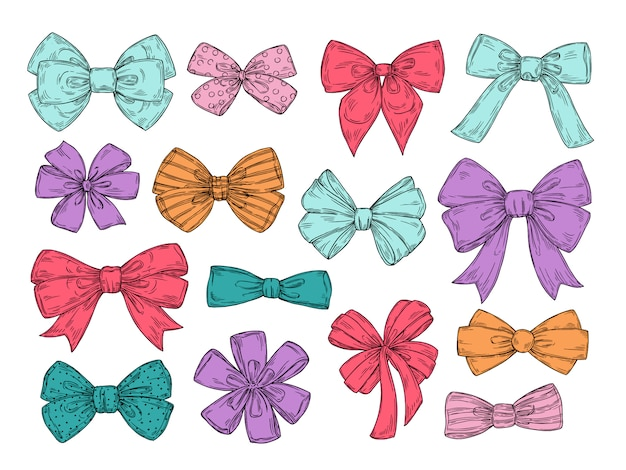 Color bows. sketch fashion tie bow accessories hand drawn doodles tied ribbons.