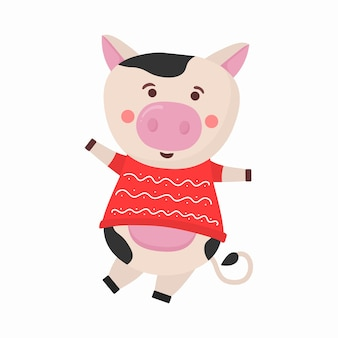 컬러 황소 중국 새 해 기호 동물 뿔 암소 동물 휴일 만화 캐릭터
