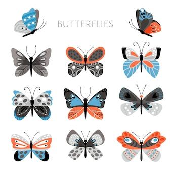 컬러 나비와 나방 그림입니다. 벡터 꽤 화려한 나비 아이, 흰색 배경에 파란색과 분홍색 색상의 열대 봄 곤충 세트