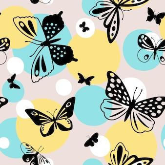 컬러 나비 패턴입니다. 폴카 도트와 나비 비행 밝은 색상 패션 원활한 패턴, 벡터 일러스트 레이 션