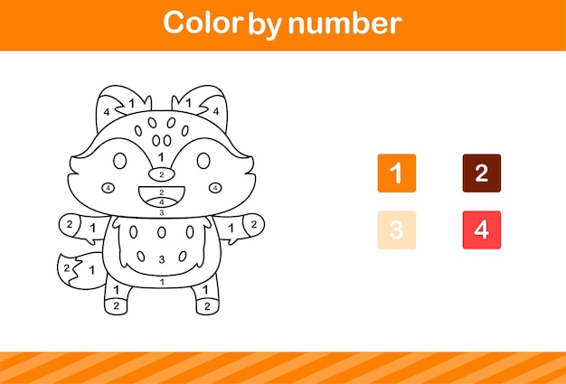 Color by number of cute fox,education game for kids age 5 and 10 year old
