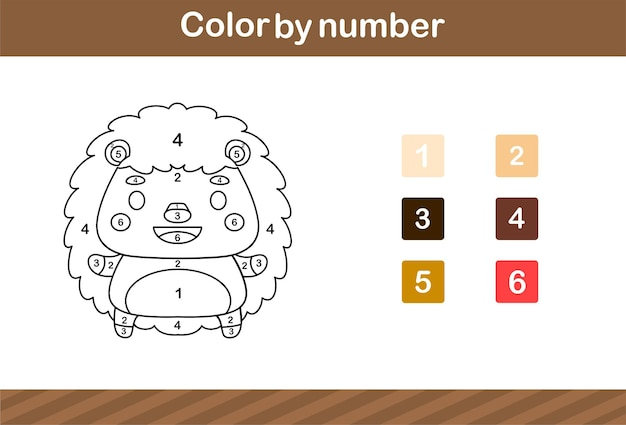 Color by number of cute hedgehog,education game for kids age 5 and 10 year old