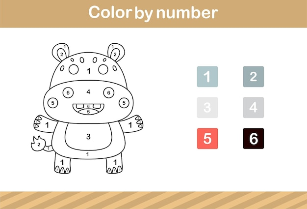Color by number of cute hippo,education game for kids age 5 and 10 year old