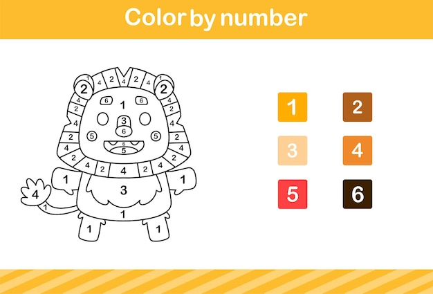 Color by number of cute lion education game for kids age 5 and 10 year old