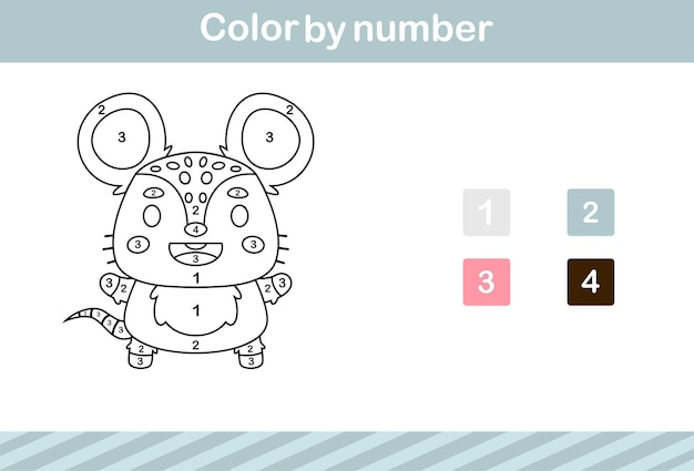 Color by number of cute rat,education game for kids age 5 and 10 year old