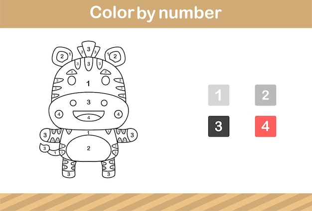 Color by number of cute zebra,education game for kids age 5 and 10 year old