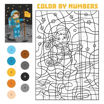 Color by number, education game for children, astronaut