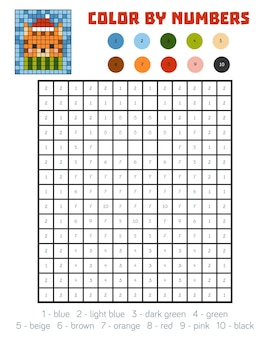 Color by number, education game for children, cat