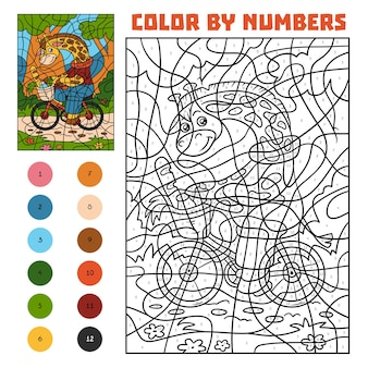 Color by number, education game for children, giraffe on a bicycle