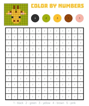 Color by number, education game for children, giraffe