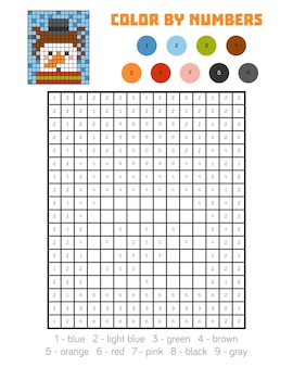 Color by number, education game for children, snowman