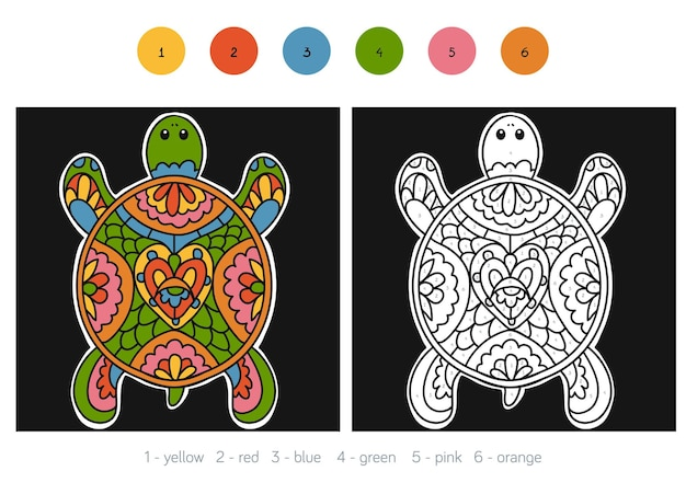 Color by number, education game for children, turtle
